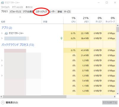 Windows10 タスクマネージャー