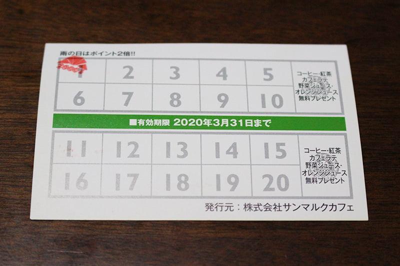 サンマルクカフェ メンバーズカード(裏)