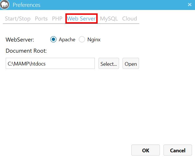 MAMP Webサーバー設定画面