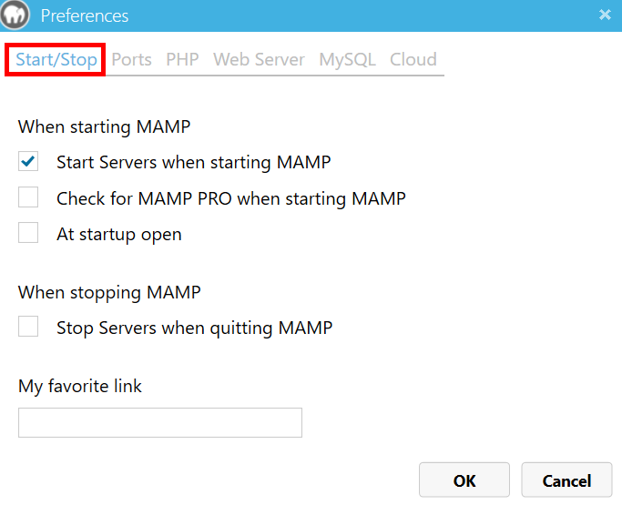 MAMP 起動設定画面