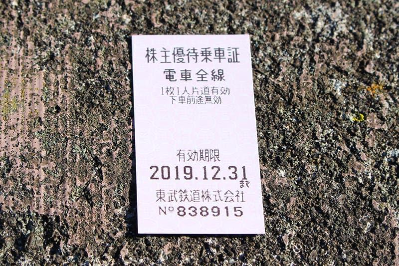 東武鉄道株主優待乗車証