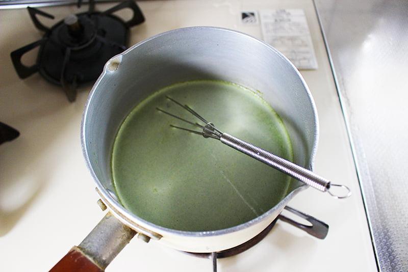 「余ったヨーグルトで抹茶プリン」の作り方1